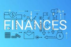 Banner van het de samenstellingsconcept van het financiën 2019 woord de in De Investering van de overzichtsslag, Strategie, Analy stock illustratie