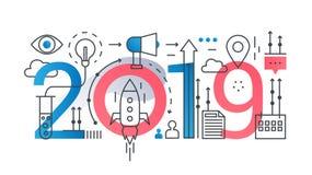 Banner van het de samenstellingsconcept van het opstarten van bedrijven 2019 woord de in Startoverzichtsslag en het vlakke lijnpi royalty-vrije illustratie