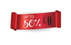 Banner van het verkoop de rode lint royalty-vrije illustratie