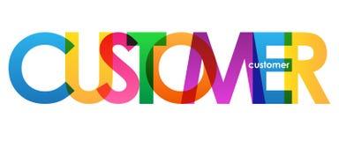 Banner van KLANTEN de kleurrijke overlappende brieven vector illustratie