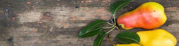 Banner van peren op donkere houten achtergrond Het concept van de oogst De herfst verlaat grens met diverse groenten op witte ach Stock Afbeelding