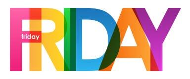 Banner van VRIJDAG de kleurrijke overlappende brieven stock illustratie