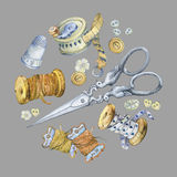 Banner of various hand drawn vintage objects for sewing, handicraft and handmade. Royalty Free Stock Photos