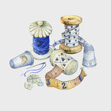 Banner of various hand drawn vintage objects for sewing, handicraft and handmade. Royalty Free Stock Photography