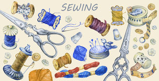 Banner of various hand drawn vintage objects for sewing, handicraft and handmade. Hand drawn watercolor painting on yellow background Stock Photo