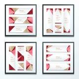 Banner Vastgestelde Bruin, Roze, Rood Stock Foto's