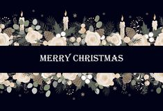 Banner with vector christmas tree branches, roses, and candles, and space for text stock illustration