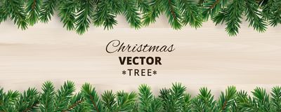 Banner with vector christmas tree branches on wooden background. Realistic fir-tree border, vector frame. Great for christmas cards, banners, flyers, party Royalty Free Stock Photo