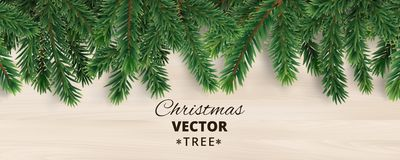 Banner with vector christmas tree branches on wooden background. Realistic fir-tree border, vector frame. Great for christmas cards, banners, flyers, party Royalty Free Stock Photos
