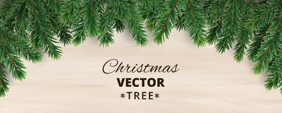 Banner with vector christmas tree branches on wooden background. Realistic fir-tree border, vector frame. Great for christmas cards, banners, flyers, party Stock Photography