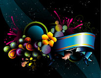 Banner vector composition. Abstract illustration over black background Royalty Free Stock Image