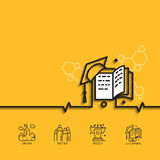 Banner vector e-learning. Vector banner with a picture of e-learning as square academic cap book monitor  on yellow background Stock Image