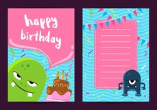 Vector happy birthday card template with cute cartoon monsters, cake, garlands Royalty Free Stock Photography