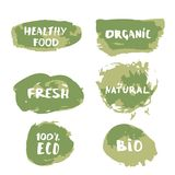 Banner. Vector illustration. Handwritten lettering Organic, Fresh, Natural, 100% Eco, Bio, Healthy Food. Set of hand drawn banners.  Element for graphic design stock illustration