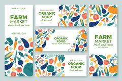Banner vegetables. Fresh vegetable menu, organic food and natural products banners vector illustration set vector illustration