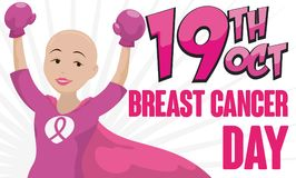Victorious Bald Female Hero Conquering Breast Cancer, Vector Illustration. Banner with victorious bald female hero -or shero- with box gloves and cape Royalty Free Stock Photography