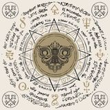 Banner with vintage keyhole in an octagonal star. Illustration of a keyhole inside an octagonal star with handwritten magic inscriptions and symbols. Vector vector illustration