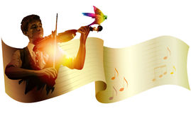 Vector banner with violinist Royalty Free Stock Photography