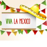 Banner viva la Mexico - sombrero and triangle bunting flag. Banner viva la Mexico - sombrero and party triangle bunting flags vector illustration