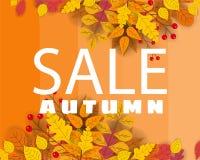 Banner voor Autumn Sale, achtergrond met dalende bladeren, geel, oranje, bruin, daling, het van letters voorzien, malplaatje voor vector illustratie