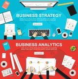 Banner voor bedrijfsstrategie en bedrijfsanalytics De vlakke concepten van de ontwerpillustratie voor zaken, financiën, beheer, a vector illustratie
