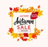 Banner voor de herfstverkoop in kader van bladeren Royalty-vrije Stock Afbeelding