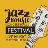 Banner voor de muziek van de festivaljazz met een gitaarhals Stock Afbeeldingen