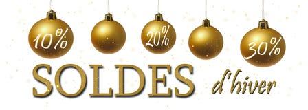 banner voor de winterverkoop in het Frans wordt geschreven dat Stock Afbeeldingen