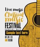 Banner voor festival klassieke muziek met een gitaar vector illustratie
