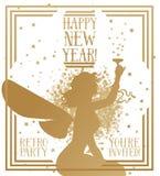 Banner voor gelukkig nieuw jaar in art decostijl met het silhouet van de feevrouw stock illustratie
