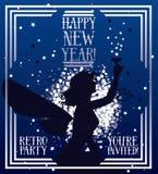 Banner voor gelukkig nieuw jaar in art decostijl met het silhouet van de feevrouw vector illustratie