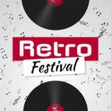 Banner voor het retro muziekfestival Muzikaal affichemalplaatje voor uw ontwerp Het ontwerp van muziekelementen royalty-vrije illustratie