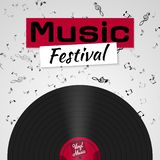 Banner voor het retro muziekfestival Muzikaal affichemalplaatje voor uw ontwerp Het ontwerp van muziekelementen stock illustratie