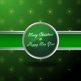 Banner voor Kerstmis in groen en zilveren Stock Foto