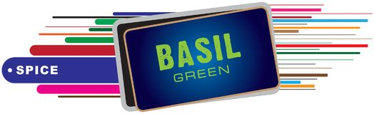 Banner voor kruiden - groen Basilicum Stock Afbeeldingen
