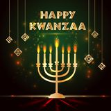 Banner voor Kwanzaa met traditionele gekleurd en kaarsen die de Zeven Principes of Nguzo Saba vertegenwoordigen vector illustratie