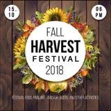 Banner voor Oogstfestival met bladeren, kruiden, groenten, pompoenen en zonnebloemen op een houten achtergrond Vector illustratie stock fotografie