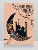 Banner voor Ramadan Kareem met moskee en siermaan stock illustratie