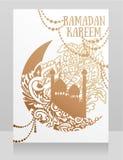 Banner voor Ramadan Kareem met moskee en siermaan royalty-vrije illustratie