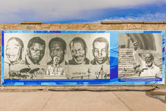 Banner on the wall at the dock at Robben Island Royalty Free Stock Image