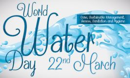 Commemorative Design with Water Splash for World Water Day, Vector Illustration. Banner with a water surge design, reminder date and some precepts to commemorate Stock Photography