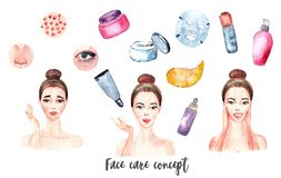Banner watercolor acne, pimples, wrinkles, dry skin, blackheads, dark circles under eyes vector illustration