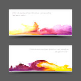 Banner watercolor violet yellow. Vector watercolor bannet. Pink abstract texture. Disigne banner. Painterly background. Vector watercolor splash Royalty Free Illustration
