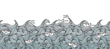 Banner with waves and paper boats. Seamless banner with hand drawn waves and little paper boats, can be tiled horizontally Stock Image