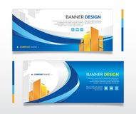 Banner web design business blue-gold. Editable 720 x 300 px Royalty Free Stock Photos