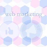Banner for web design, seo, social media and pay per click internet advertising. marketing Royalty Free Stock Images