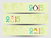 Banner or web header for New Year and Merry Christmas celebratio. Happy New Year 2015 and Merry Christmas celebration website header or banner set Royalty Free Stock Photo