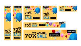 Banner website sale off package with balloon polygon pattern vec Stock Photography