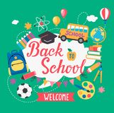 Banner welcome Back To School. vector illustration