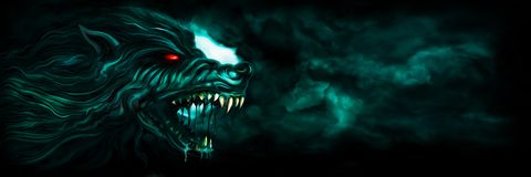 Banner with a werewolf. Illustration horror background with a roaring werewolf and the moon in the night sky royalty free illustration